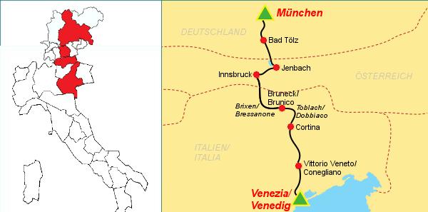 ciclovia venezia monaco mappa